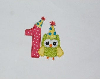 """Birthday Embroidered Iron On Applique  """"Party Owl"""""""