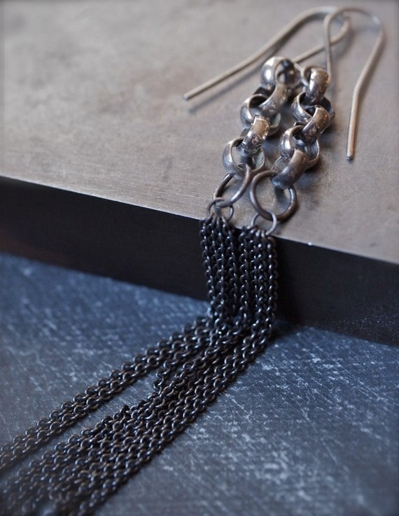 Extra long, extra flirty dangly silver chain earrings