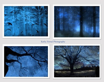 Nature Photography, Surreal Blue Nature Trees Print, Sparkling Blue Fairy Lights Stars Trees, Fairytale Blue Fantasy Trees Wall Art Prints,