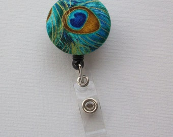 Retractable ID Badge Holder Reel  - Fabric Button - Peacock feather