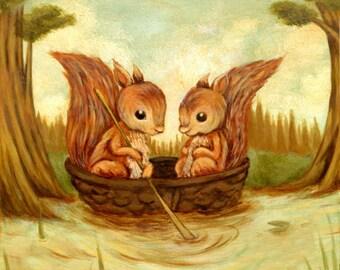 The Walnut Boat Ride Print 8x8 - Squirrels, Children's Art, Nursery Art, Woodland, Forest, Spring, Cute, Kids Art, Baby, Boat, Lake, Animals