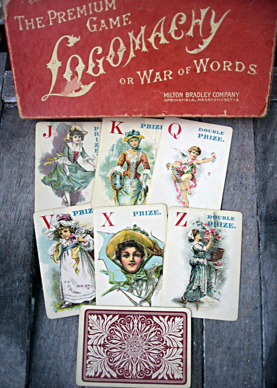 Antique victorian playing cards card game of Logomachy House Of Playing Cards