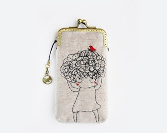 iPhone Case fabric iPhone sleeve gadget case/Glasses Case-Free Motion Embroidery Girl (iPhone 7, iPhone 7 Plus, Samsung Galaxy S7 etc. )