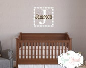Square Initial and Name Wall Decal with Polka Dot Frame Border - Teen Boy Name Decal - Baby Boy Nursery Name Wall Decal 22 x 22 FN0170