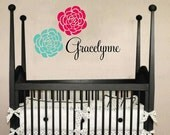 Girl Name and Flowers Monogram Wall Decal - Script Name with Flower Accents - Vinyl Decal Baby Nursery Bedroom Girl Teen 22h x 36w FN0373