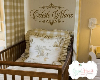 Personalized Name Wall Decal with Elegant Shabby Chic Accents - Baby Girl Name Decal with Script Font FN0159