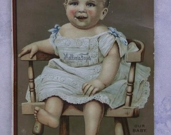 Cute Smiling Baby in Highchair - Victorian Trade Card - Mellin's Food - 1892