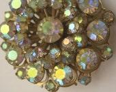 Vintage Brooch Aurora Borealis Rhinestone Round Pin