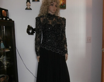 Cocktail Dress Black Long Lace Sleeves~ Rhinestones~ Pearls  ~Nude Illusion  Womens Vintage Dress