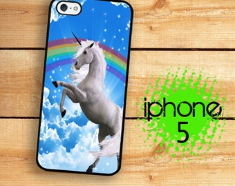 iPhone SE 5S Awesome 80s Unicorn Rainbow Case Plastic or Rubber Case for iPhone 5 iPhone 5S