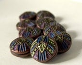 Hand-painted Geometric Beads--  Green, Copper, Purple