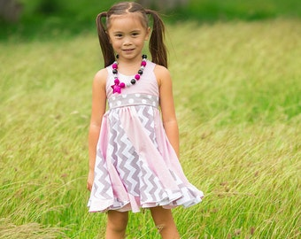 Sundress for Girls - Sleeveless - Birthday - Party - Easter - Holiday - Special Occasion - Twirl Dress - Spiral Dress - Grey Pink Dress
