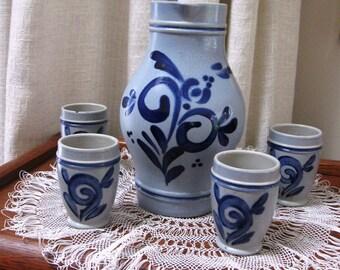 Vintage German Pitcher Carafe Cups Cobalt Blue Salt Glaze Stoneware Jug Gray 1970s Set
