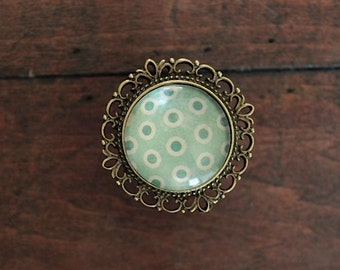 Brass Drawer Knobs Recollection Series Green and White Polka Dots (MK127 02)