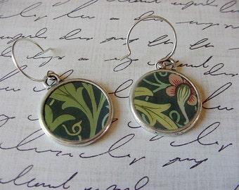 Medieval Print Earrings Mismatched Pair Soothing greens floral print
