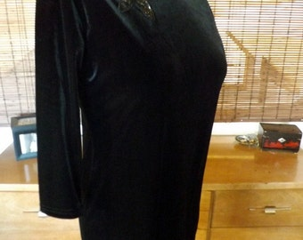 Vintage 90s Black Velvet and Sequin  Mini Wiggle Dress M-L Free shipping