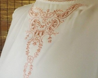 Vintage 80s Near sheer Victorian Revival White Secretary blouse with pink emboidery L