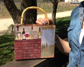 Statement Handbag, Wine Tasting Purse, Napa wine country, Copper, wood box purse, cork detail, bamboo handle, burgundy
