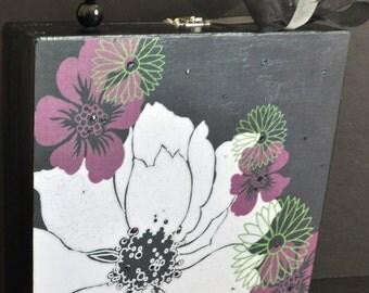 Floral Statement Purse, Wood Box Purse with tropical flower, Black and Purple purse, floral handbag, evening bag