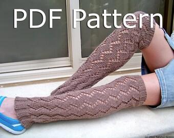 Knitting Pattern, Knit Leg Warmers Pattern, Lace Leg Warmers Pattern
