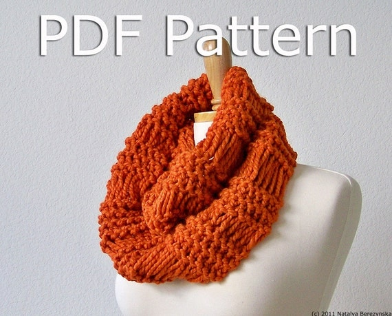 Knitting Easy Pattern Scarf Neck Warmer : Instant Download Knitting Pattern Knit Cowl by natalya1905