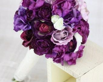 Silk Bride Bouquet Roses Ranunculus Anemone Purple Lavender Cream Country Wedding Lace (Item Number 130121)