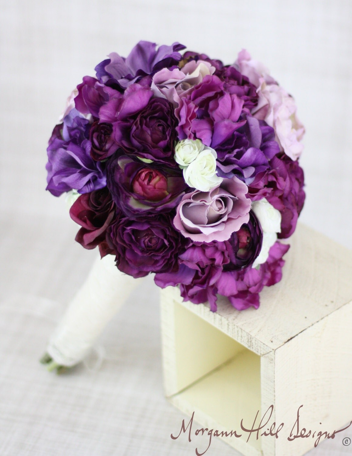 Silk bride bouquet roses ranunculus anemone purple by