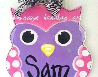 Little Owl Door Hanger/Wall Art - Bronwyn Hanahan Art