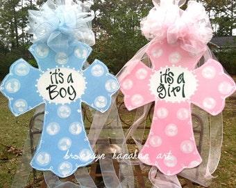 Baby Announcement Cross Door Hanger - Bronwyn Hanahan Art