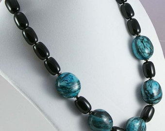 Turquoise Gemstone Necklace - Black Onyx and Turquoise Marble Necklace - Statement Necklace- Black Onyx Necklace - One of a Kind