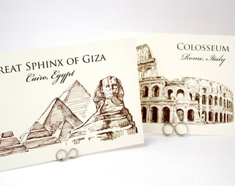Wedding Table Cards - Famous Landmarks of the World Travel Theme Table Card Signs