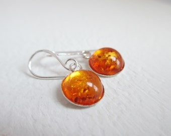 Very Tiny Baltic Amber Drop Earrings - Petite Round set in Sterling Silver - Delicate - Tiny - Petite