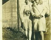 1920s Flapper Women Posing Next To Highway Bridge Well Dressed Ladies Antique Black White Vintage Photo Photograph