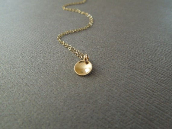 tiny necklace, dainty gold necklace, tiny circle, small disc, tiny gold medallion, layering necklace, delicate gold necklace, bridesmaids