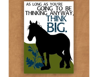 Clydesdale Horse Magnet Think Big 2 x 3