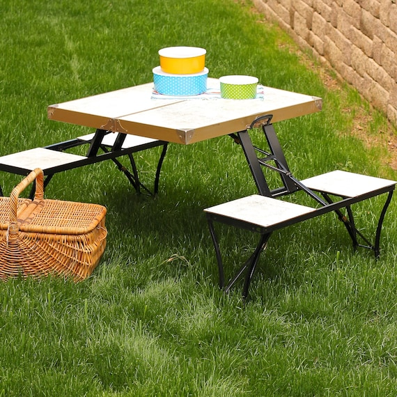 vintage portable collapsible picnic table. Black Bedroom Furniture Sets. Home Design Ideas