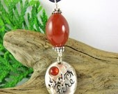 Fire Mother Pendant - Carnelian & Sterling Silver Necklace