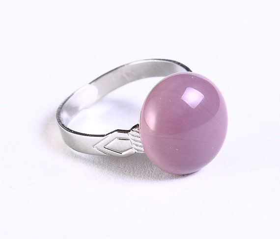 Lilac purple glass adjustable silver ring petite cocktail ring OOAK (683) - Flat rate shipping