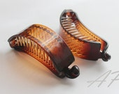 "2pcs 3""(75mm)Brown Plastic Blank Hair Barrette(Claw)with Secure Teeth..Ponytail Holder Style"