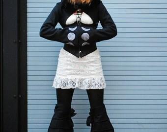Harvest Moons Womens Leg Warmers Accessories - Crescent Moons Goddess Clothing Vegan Polar Fleece Boot Covers