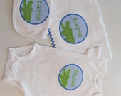 Baby Boys Alligator Patch with Name, Bib, Burpcloth and Onesie Set,