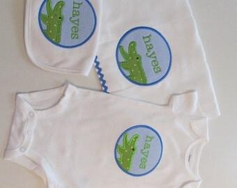 Baby Boys Alligator Patch with Name, Bib, Burpcloth and Onesie Set,