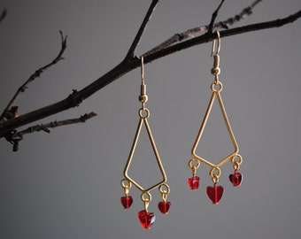 Red heart chandelier earrings
