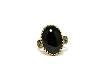 Black Onyx and Bronze Ornate Womens Ring Handmade Gothic Victorian Style Adjustable Size 6 to 9 Goth Artisan Jewelry