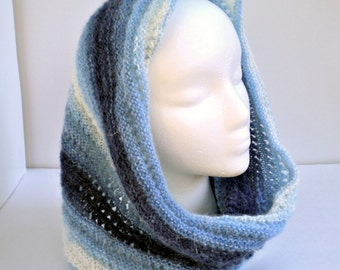 Cowl Blue Knit Lace Mohair Blend Scarf