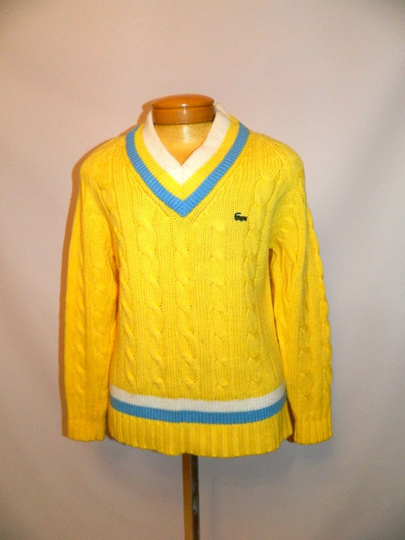 vintage 1960s sweater 60s LACOSTE yellow tennis sweater Mens M