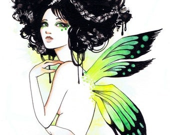 SALE: Stella the Green Fairy Nymph Girl 11x14 Fine Art Print