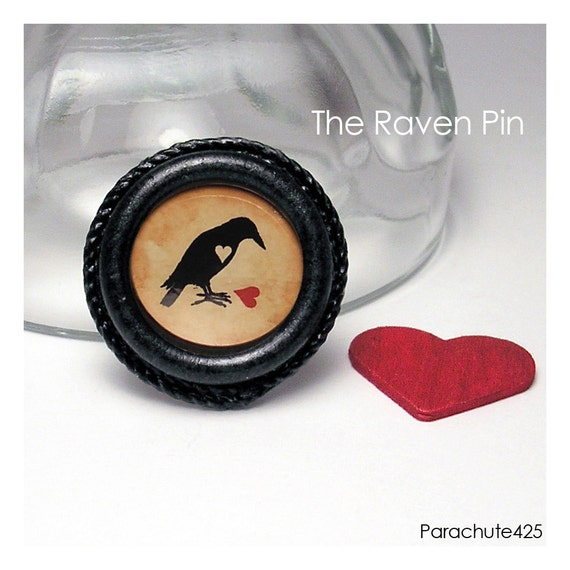 The Raven art pin, macabre brooch, goth fashion, nevermore, poe, paper jewelry
