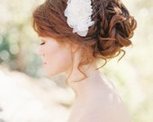 Silk Chiffon Petals beaded lace bridal hair comb, Wedding hair accessory, Pearl beaded lace hair comb - Style 202