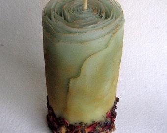 Beeswax Unity Candle w/ Roses Lavender Cinnamon Cloves, Unique Unity Candle, Boho Wedding, Hippie Wedding, Flower Candle, Woodland Wedding